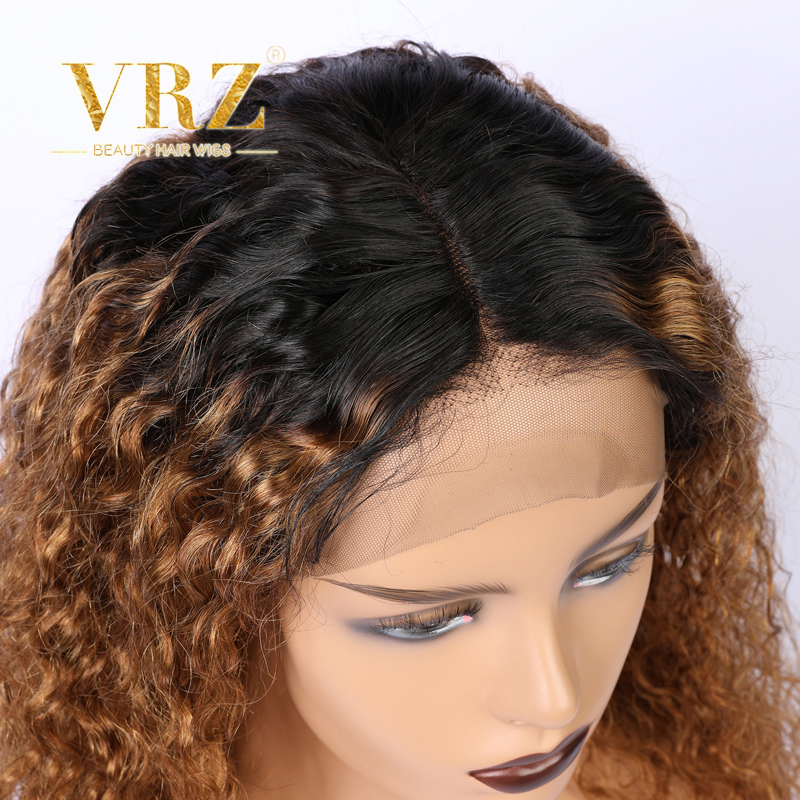 Ombre Lace Front Wig Brazilian Kinky Curly 13x6 Human Hair Wigs For Women Fake Scalp Wig Pre Plucked Hairline With Baby Hair VRZ