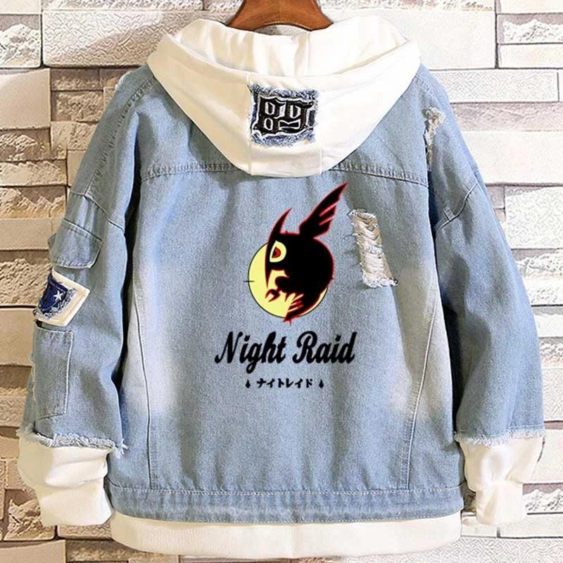 Anime Akame ga KILL! Night Raid Casual Layered Denim Jackets Frayed Rib Long Sleeve Hooded Jean Jacket Loose Cowboy Spring Coat|Jackets| - AliExpress