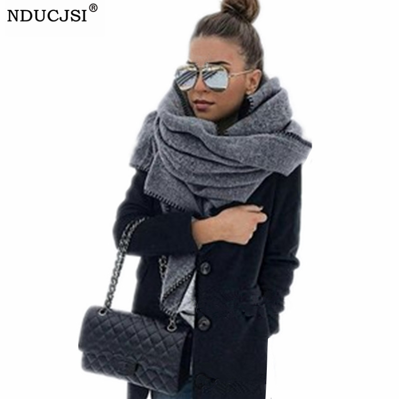 NDUCJSI Winter Shawl Blanket Female Wool   Scarf   Women Cashmere   Scarves   Thick   Wrap   Wide Long Shawl   Wrap   Warm Head   Scarf   180*38cm
