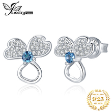 JewelryPalace Genuine London Blue Topaz Stud Earrings 925 Sterling Silver Earrings For Women Korean Earings Fashion Jewelry 2019 vintage 925 silver topaz drop earrings for party 5 mm 7 mm natural topaz silver earrings steriling silver topaz jewelry