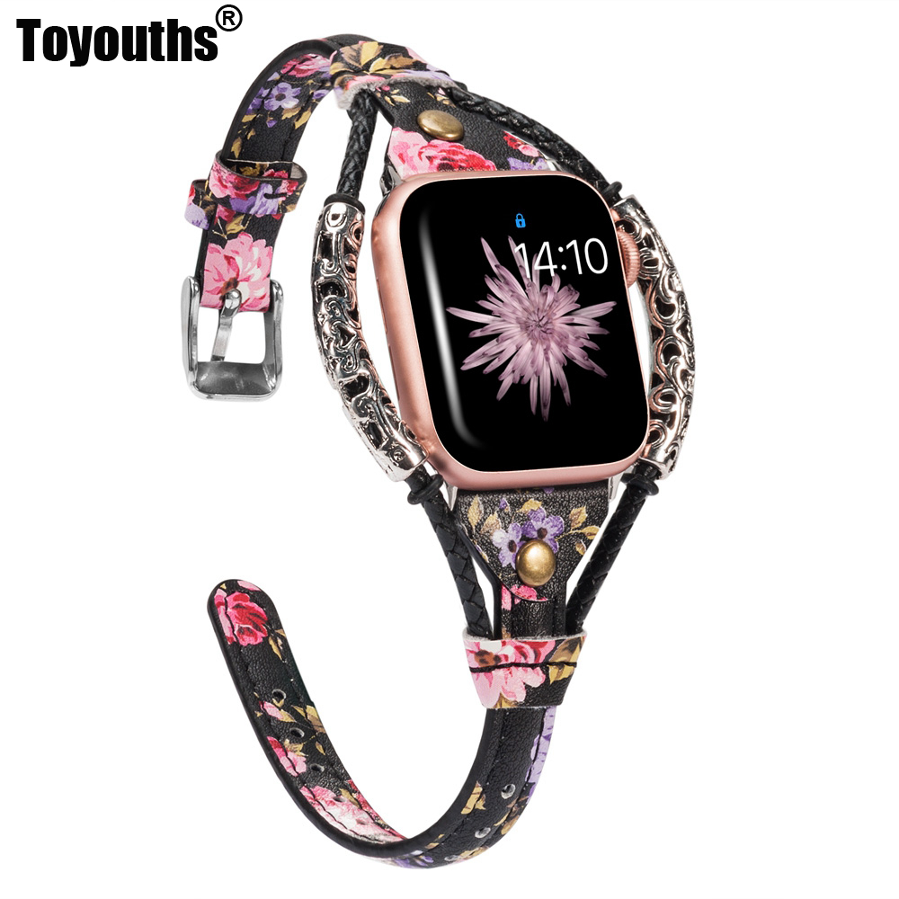 Leather Strap For Apple Watch Band 38mm 42mm Women Handmade Twist Strip Vintage Rivet With Metal Rope Strap Iwatch Series 4 3 2
