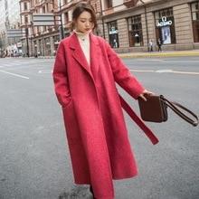 Основной костюм для фотосессии, милый красный длинный костюм выше колена в елочку, с воротником, на талии, на шнуровке, шерстяное пальто для женщин OL