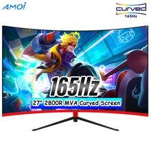 Amoi 27 дюймовый светодиодный игровой 165 Гц ПК 1080P мониторы игровая компьютерная Экран изогнутые Дисплей MVA Панель Обои для рабочего стола HD DP, с...
