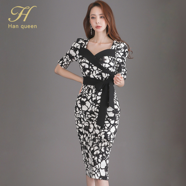 H Han Queen Flower Print Fashion Pencil Dress Women Casual Dresses Office Lady Evening Party Sexy Elegant Simple Series Vestidos 6