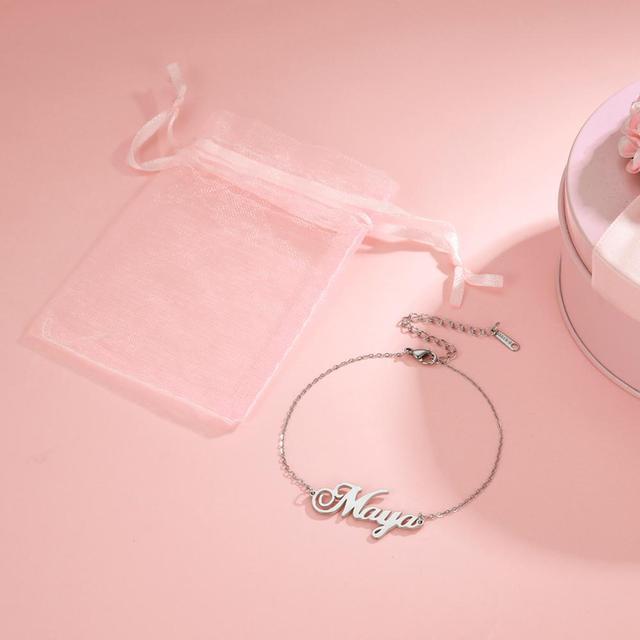 Skyrim Personalized Name Bracelet Women Girls Stainless Steel Chain Letter Customized Charm Bracelets Unique Custom Jewelry Gift 4