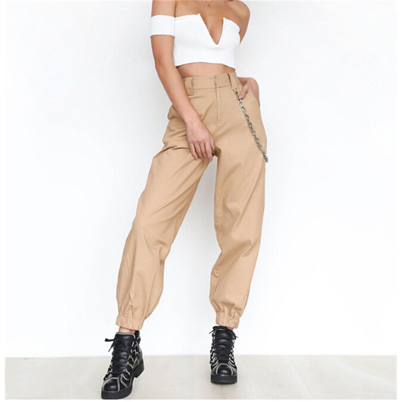 Meihuida Women's Cargo Trousers High Waist Safari Solid Punk Loose Long Sports Pants With Chain Hip Hop Cool Casual Pants