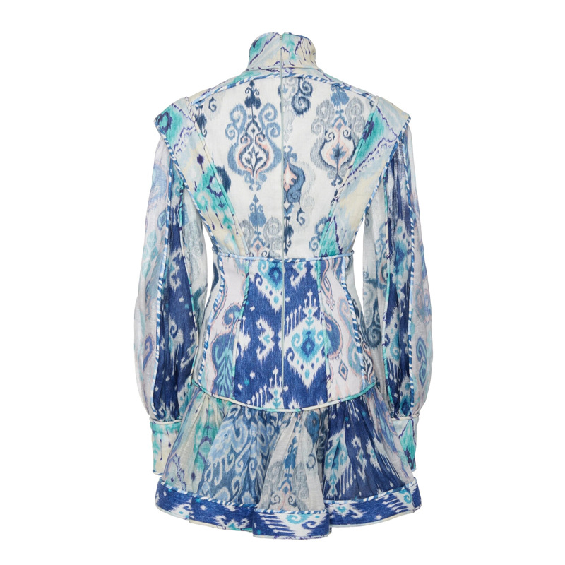 2020 primavera nova retro impressão sexy vestido feminino gola lanterna manga de cintura alta babados mini vestidos moda feminina - 3