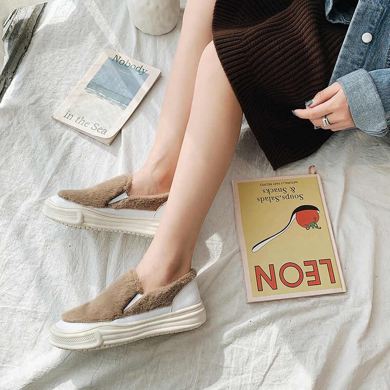 Sürüngen peluş kürk moccasins slip kış pamuklu ayakkabılar kadın kısa katı yuvarlak ayak rahat daireler rahat tasarımcı kadın loafer'lar