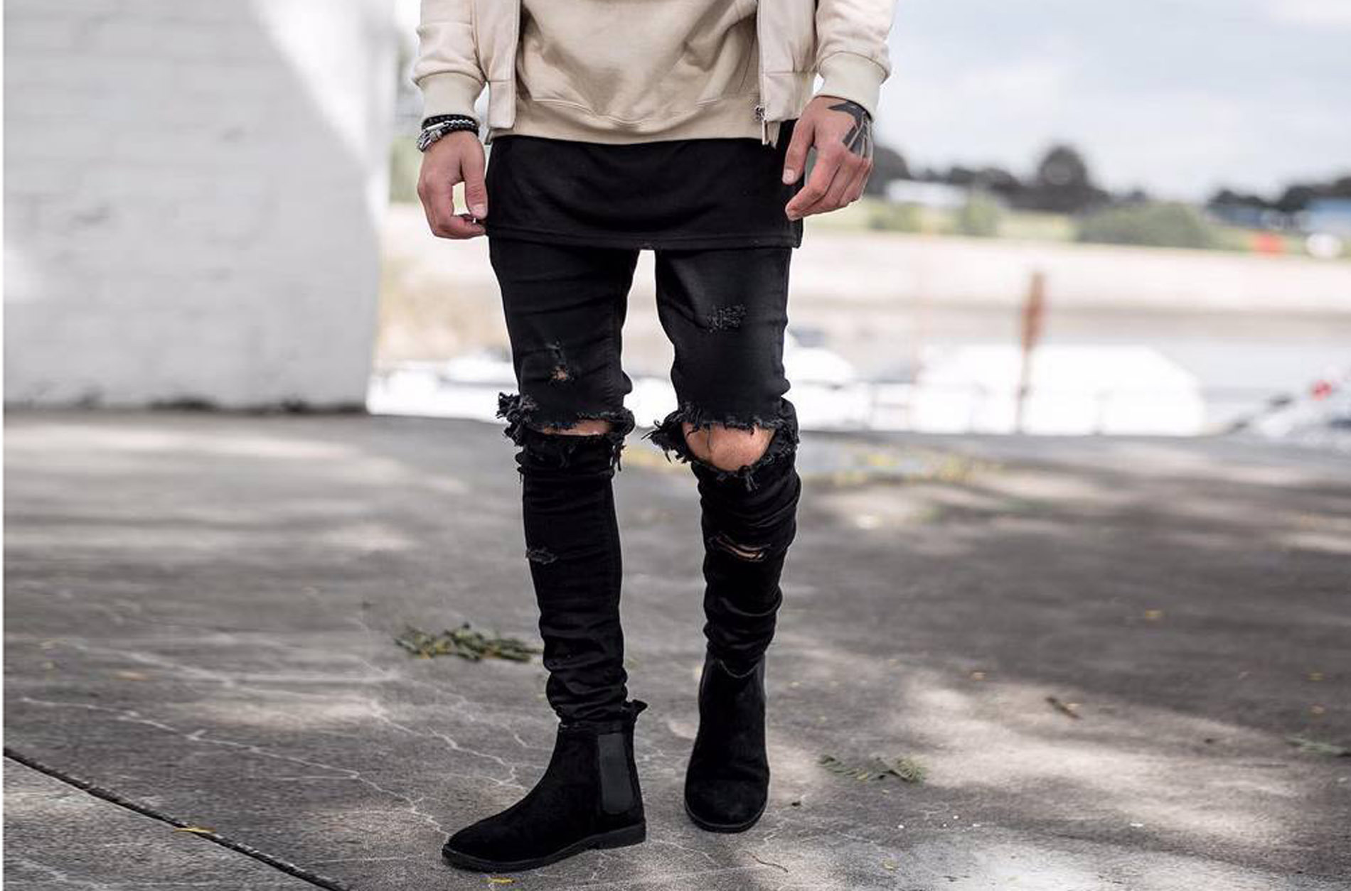 2019 New Style Men Knee Damage Knife Valgus Large With Holes Craft Slim Fit Thin-Elasticity High Street Jeans