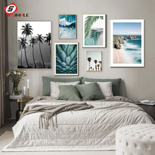 Palm Tree Leaf Blue Beach Sea Pineapple Wall Art Canvas Painting Nordic Posters And Prints Wall Pictures For Living Room Decor coconut palm tree beach wall art canvas painting nordic landscape posters and prints wall pictures for living room unframed