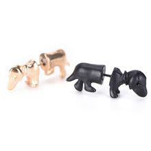 1piece Punk Rock Trendy Cool 3D Stereoscopic Dachshund/Dog Impalement Lady Men Women Unisex Ear Stud Party Earrings(China)