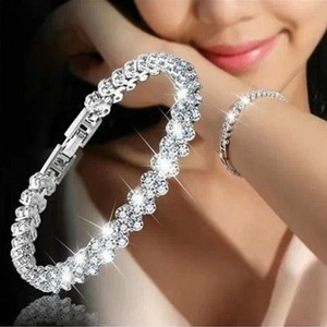 Women Bracelets Fashion Roman Style Crystal Bracelets Silver Plated Bangles For Women Jewelry Wedding Gifts Accessories