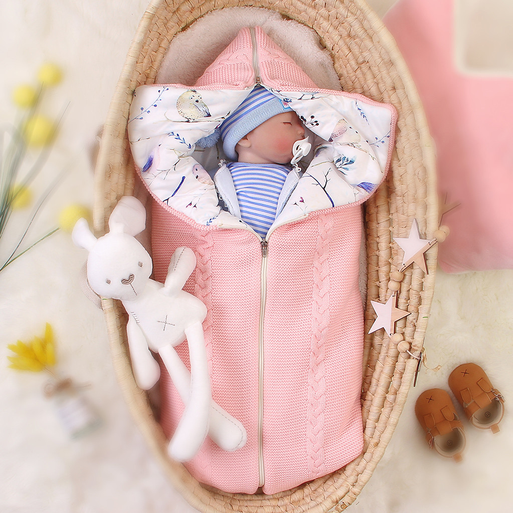 Baby Sleeping Bag Winter Newborn Stroller Wrap Sleeping Bag Extract Envelope Bag Warm Soft Cotton Swaddle Hooded Gh4