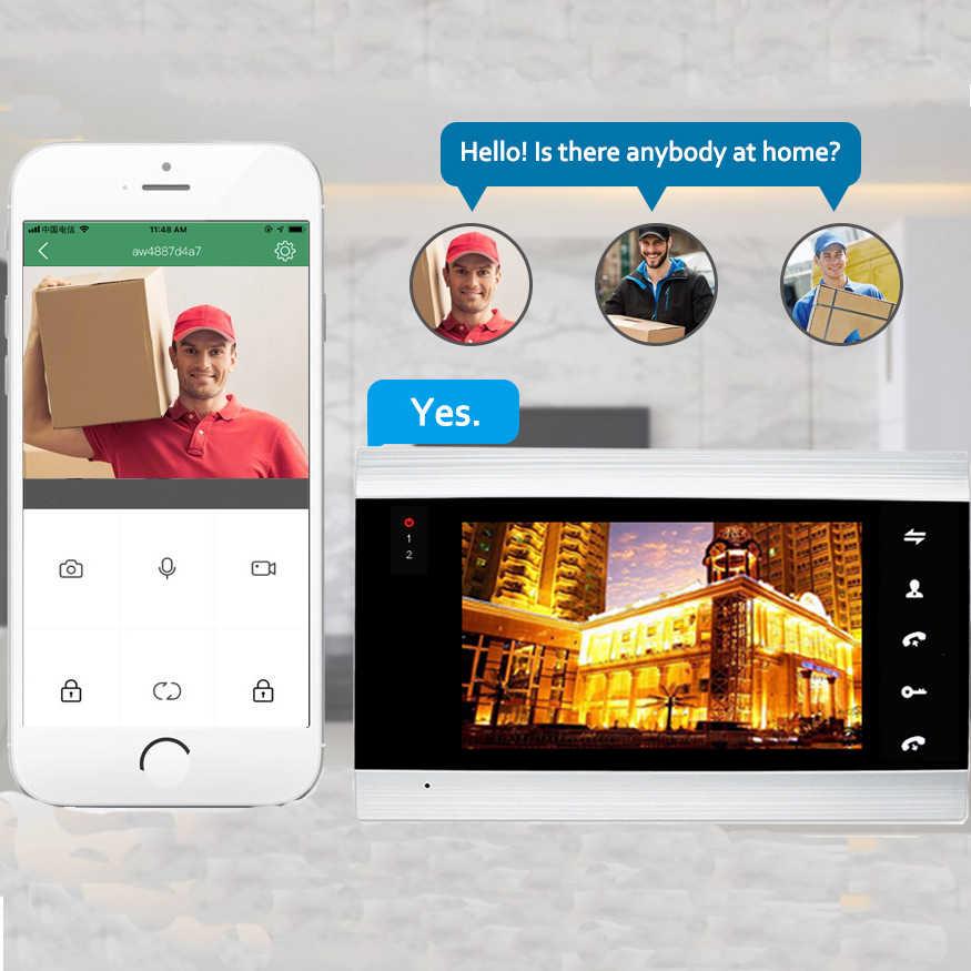 Dragonsview wifi 7 Polegada sem fio wi fi inteligente sistema de interfone telefone da porta vídeo com fio campainha com câmera desbloquear registro movimento
