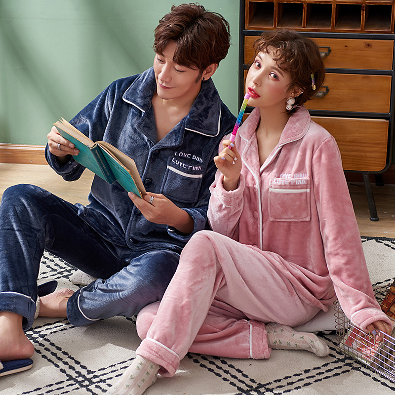 Couple Pajamas Autumn And Winter Thick Warm Flannel Long-Sleeved Cardigan Flannel Men And Women Can Wear Outside Clothing Suits