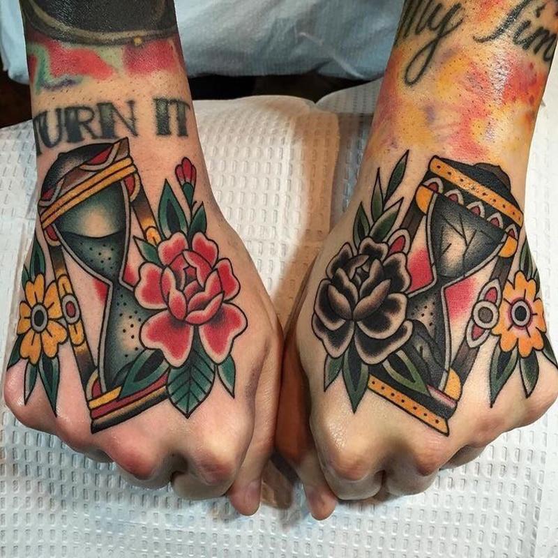 Tattoo Hourglass Temporary Tattoo Sticker Roses Flower Small Tatoo Hand Tribal Design Sexy Body Art Sticker Tattoos On Hand Face