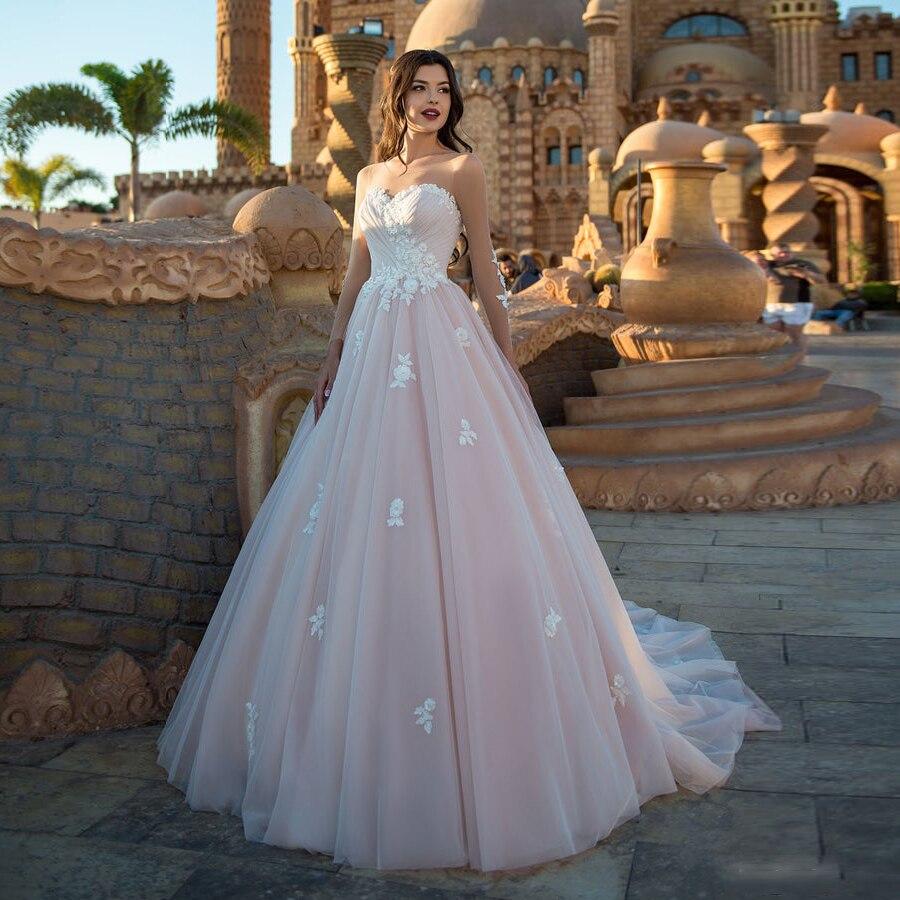 Tulle Scoop Neckline Beading Lace Applique Long Sleeve A-line Wedding Dress Court Train Illusion Lace-up Vestido De Noiva