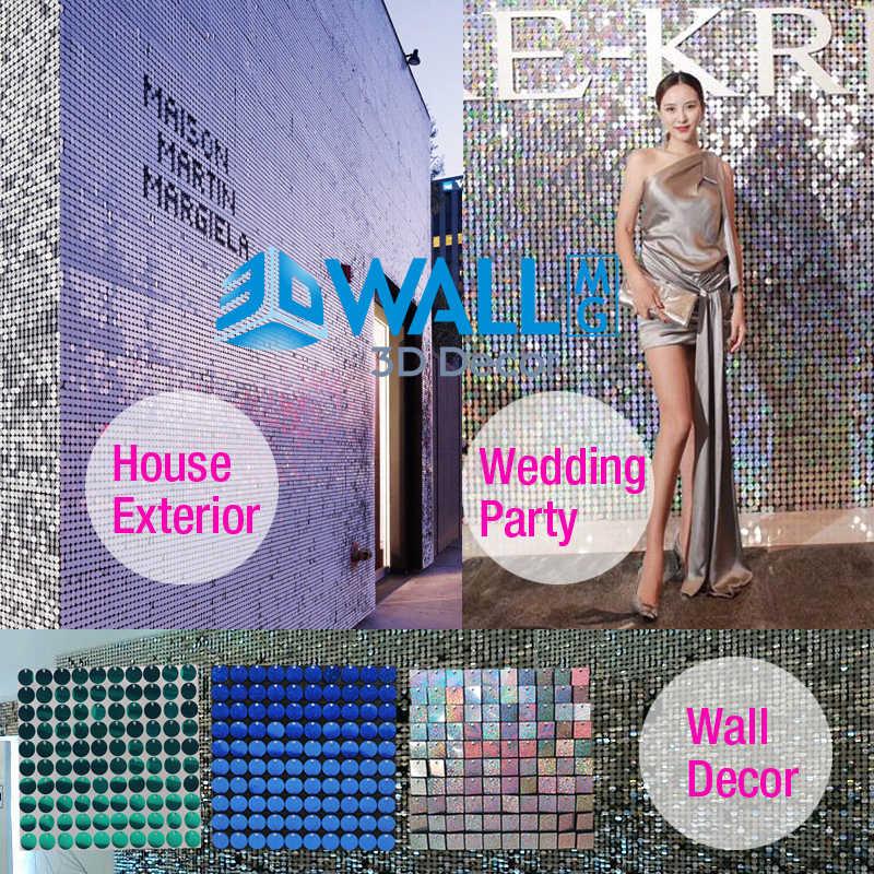 4 Pcs/lot 30x30cm 3D Sequin wall 3D Art Wall Stickers sequins 3D wall panel mirror wall cloth paint house party decor brand logo
