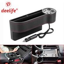 Deelife органайзер для автомобильных сидений, зазор, карман из искусственной кожи, щелевая коробка для хранения с 2 USB зарядным устройством, авто Универсальный для водителя пассажира