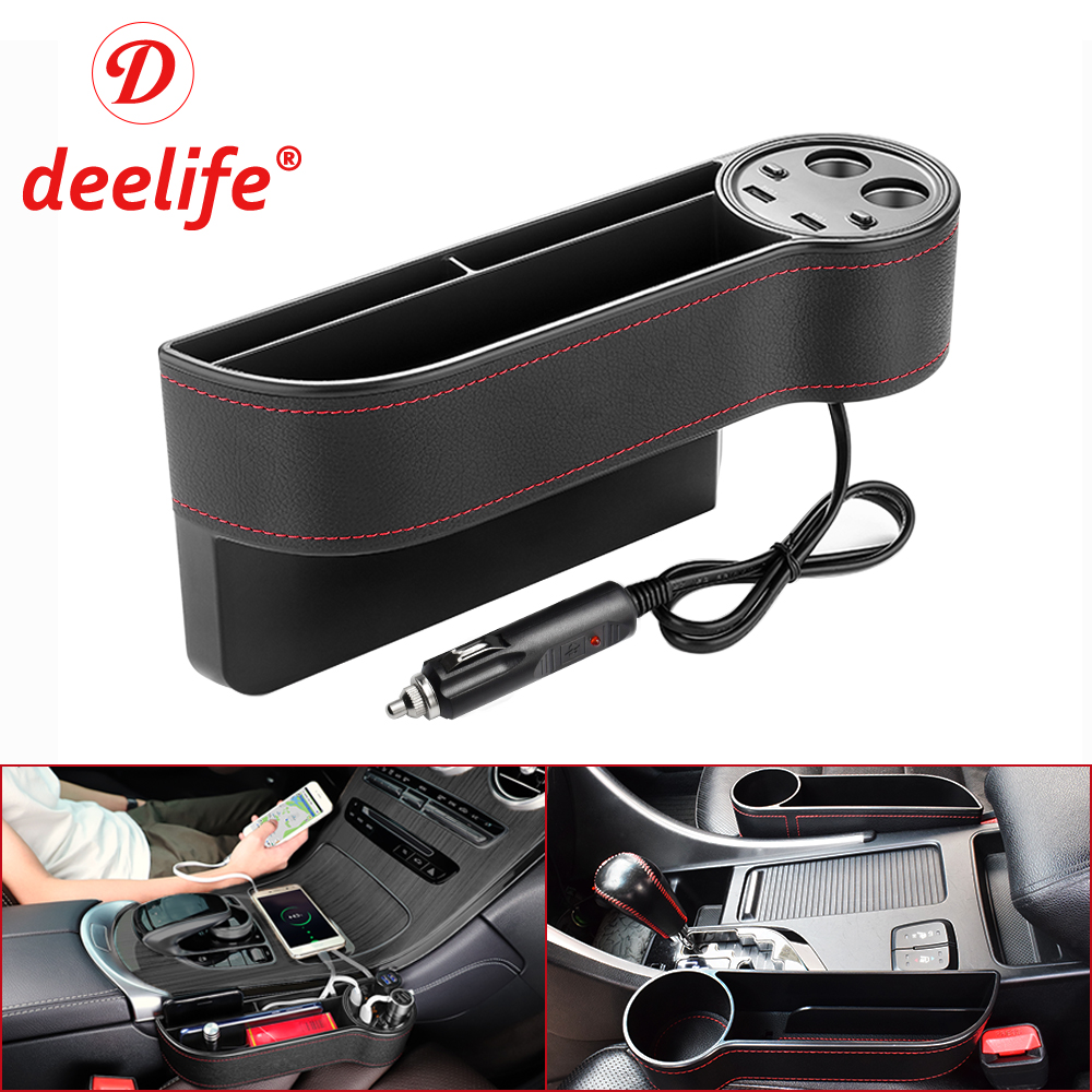 Deelife Car Seat Organizer Gap Pocket PU Leather Crevice Storage Box With 2 USB Charger Auto Universal For Passenger Driver