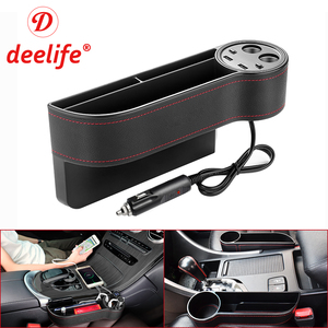 Deelife Storage Box Car Organizer Seat Gap Pu Leather Case Pocket Auto Crevice Cup Holder Car Seat Side Slit Multifunctional(China)