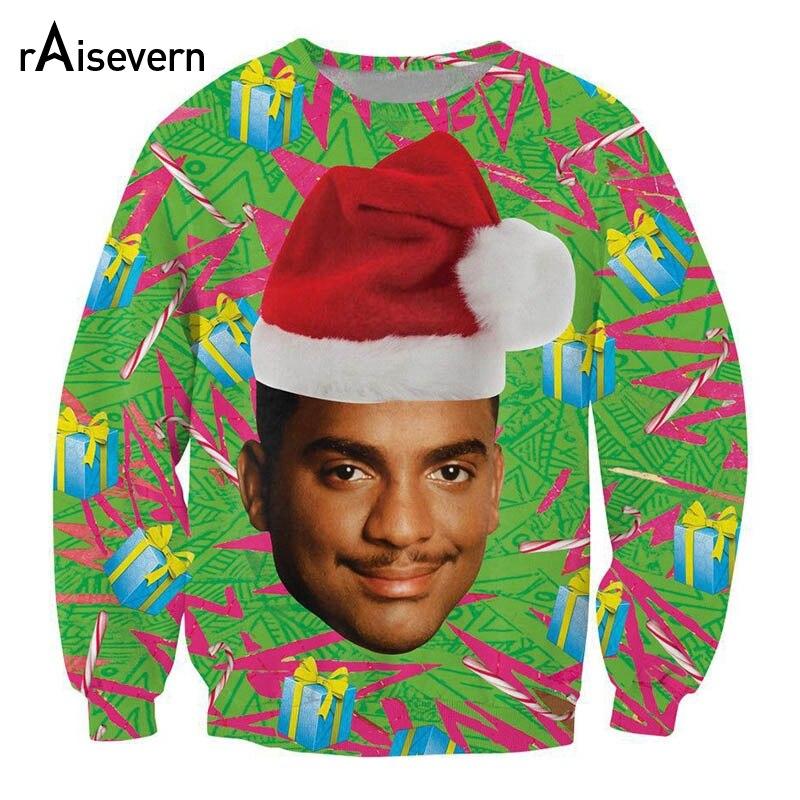Raisevern 3D Sweatshirt Fresh Prince Christmas Hoodie Carlton/Will Smith With Christmas Hat Women Men Unisex Tops Dropship