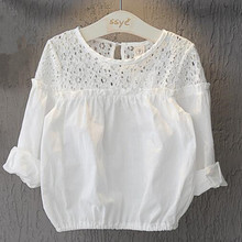 Girls Blouses Shirts Bubble-Sleeve Kids Children's Summer Thin Solid Casual for Top Hollow