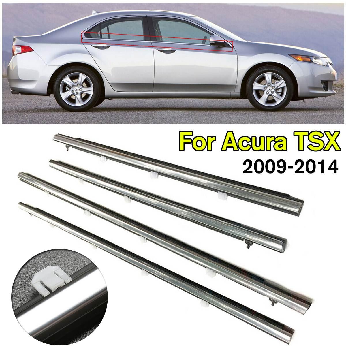 4 pièces voiture extérieur fenêtre moulage garniture coupe-froid joint ceinture météo bande Fit pour Acura TSX 2009-2014