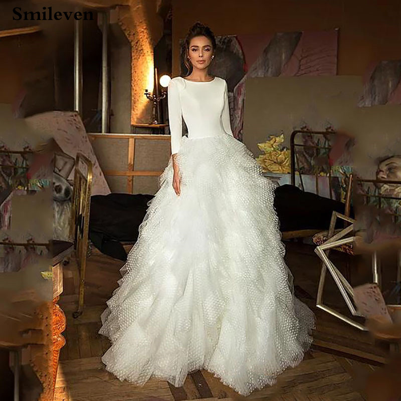 Smileven Boho Wedding Dress A Line 3/4 Long Sleeves Turkey Style Beach Bridal Dress Wedding Gowns Vestido De Noiva