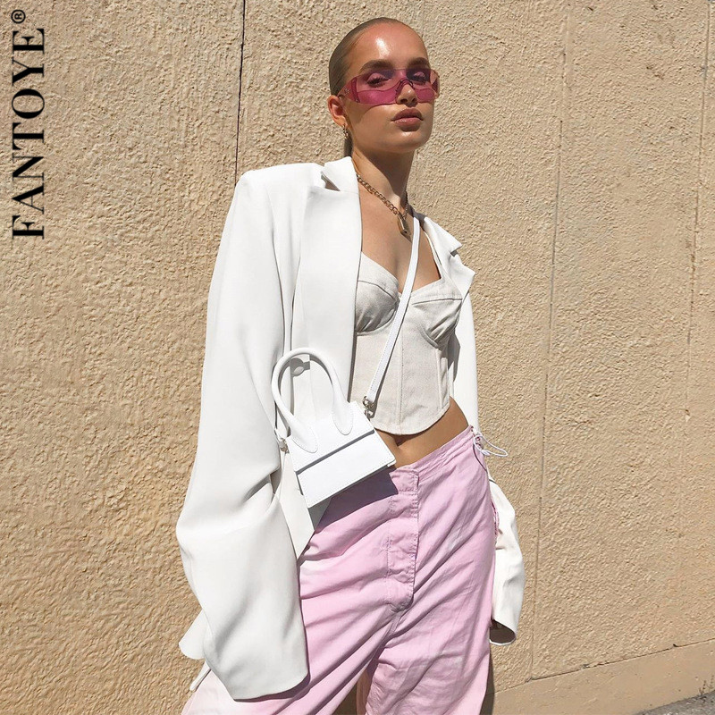FANTOYE Women Autumn Winter Suit Blazer Casual Breasted Pocket Womens Blazer Dress Suits Elegant Khaki Loose Coat Streetwear