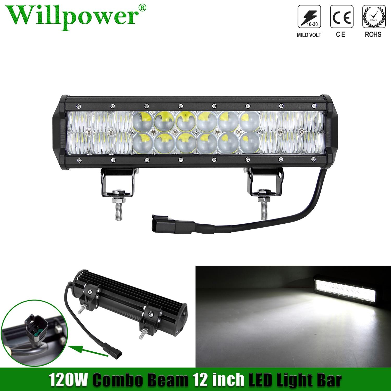 """Samochód Offroad 12 """"LED światła przeciwmgielne Bar 4x4 ciężarówka SUV Pickup Spot Flood listwa świetlna LED robocza Lightbar w/ 2 Pin 9005 DT złącze"""