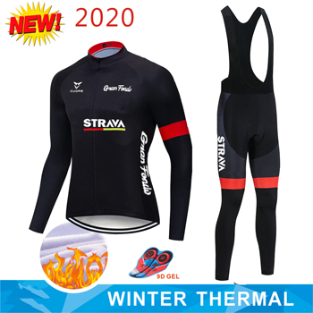 2020 Pro STRAVA Winter thermal Fleece Cycling jersey set abbigliamento ciclismo invernale bicycle clothing MTB bike