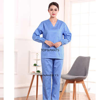 Women Scrub Set Long Sleeve Scrub Top Pure Cotton V Neck Medical Unifroms Casual Scrub Pants Pharmacy Workwear Dentist Scrubs - DISCOUNT ITEM  30 OFF Novelty & Special Use