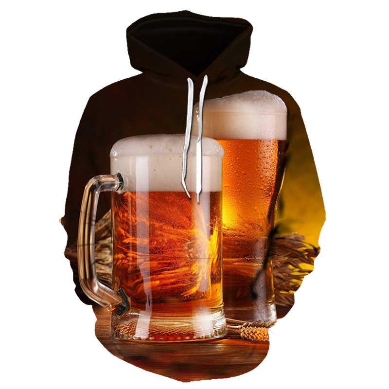 Männer der Mode 3D Bier Gedruckt Hoodie Neuheit Sanitär Kleidung Mit Kapuze Sweatshirt Gelb Herbst Lange Ärmeln Pullover Top