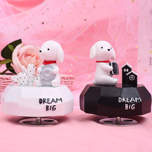 Cute Rabbit Music Box Christmas Musical Boxes Girls Pink Hand Cranked Castle in Sky Gifts Home Decoration A-361
