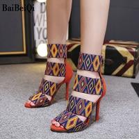 Baibeiqi Sexy Sandals European and American style embroidery cutout Women Fashion Summer Slippers 11 Cm High Heels