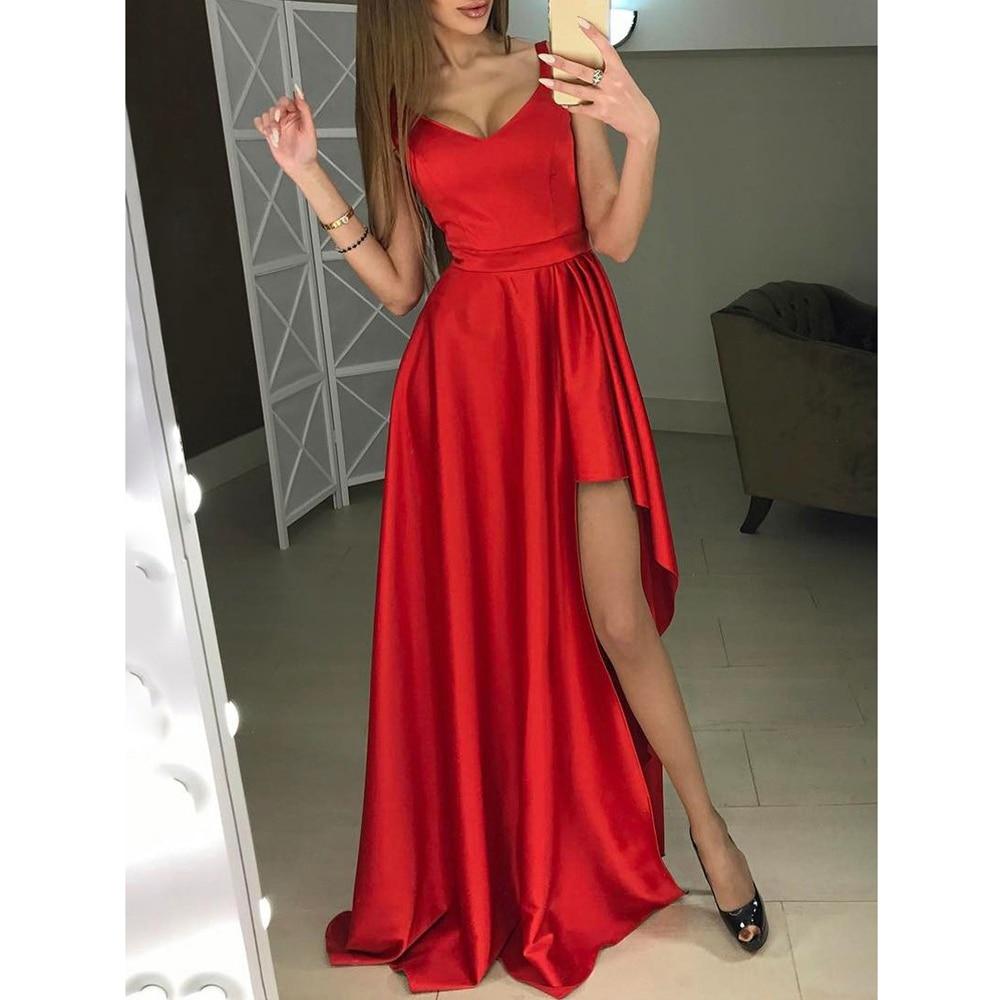 DYMADE Split Evening Formal Dress Elegant V Neck Floor-Length Wedding Party Prom Dresses A-Line Sleeveless Red Black Dress D30