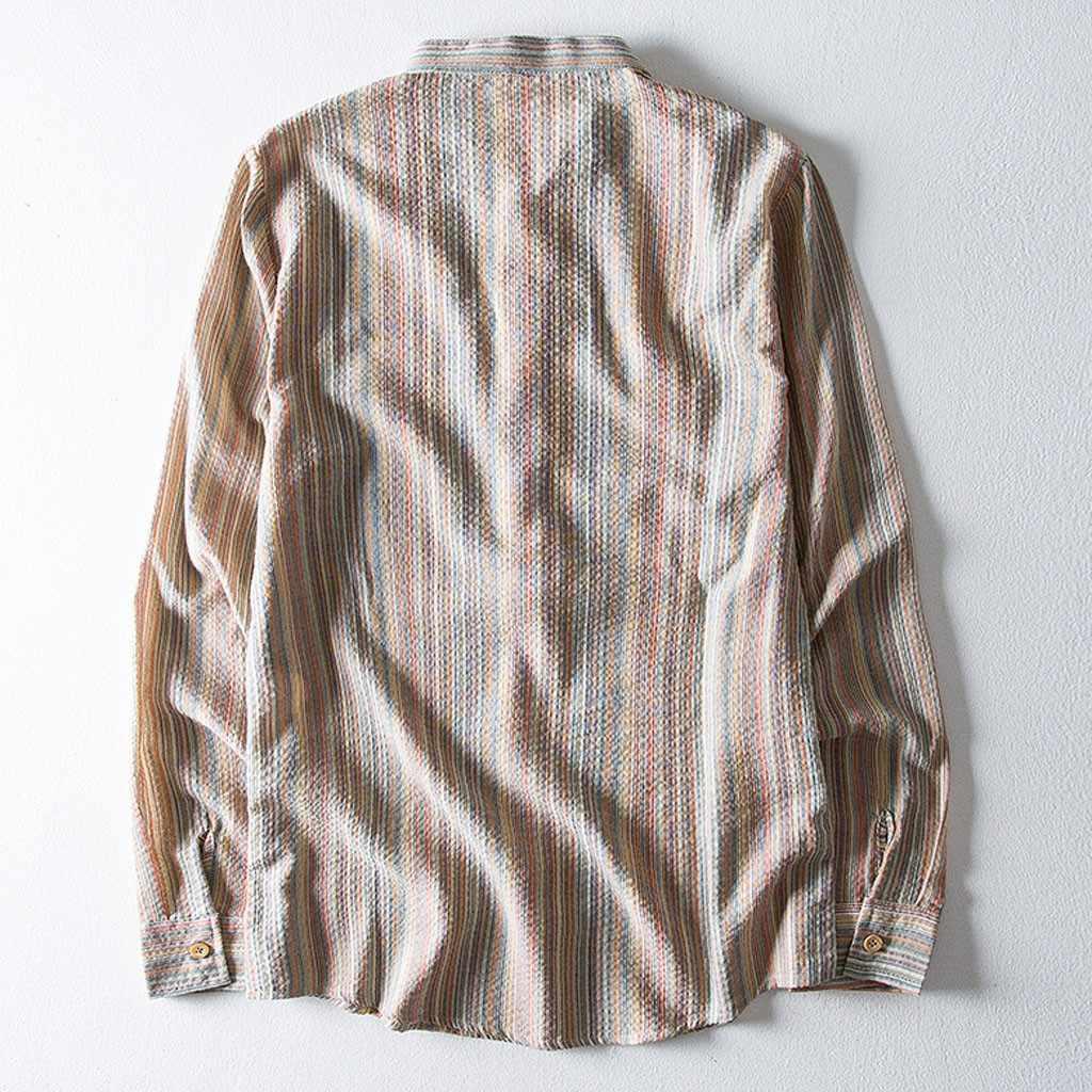 Lençóis de Algodão Estilo Étnico Ocasional dos homens Tarja Camisa de Manga Longa Blusa Tops Dropshipping tamanho Lazer roupas de Trabalho transporte livre