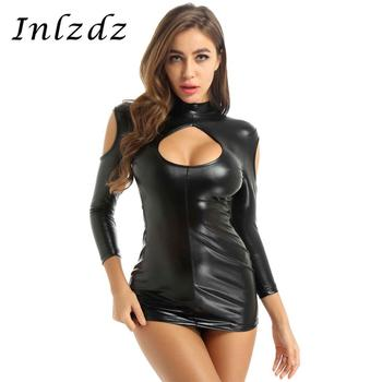 Womens Erotic Lingerie Bodycon Mini Dress Wet Look Patent Leather Sexy Clothing Mock Neck Mini Dress with G-string Thong Briefs sexy black wet look deep v neck micro mini dress with gloves stripper disco rock mistress fetish costume