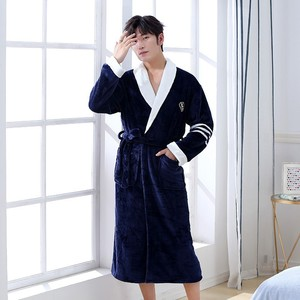 Image 5 - Thicken Warm Couple Style Flannel Robe Winter Long Sleeve Bathrobe Sexy V Neck Women Men Nightgown Lounge Sleepwear Home Clothes