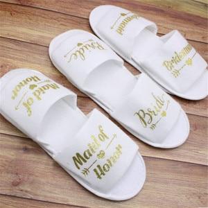 1 pair bride shower bride wedding decoration bridesmaid hen party spa soft slippers ladies bachelorette party supplies gifts-C
