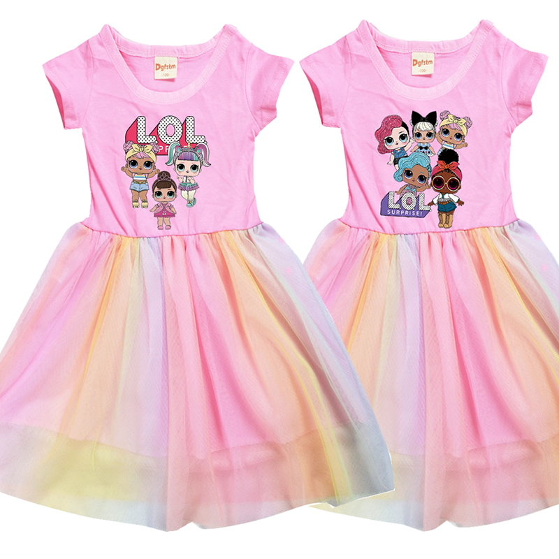LoL Surprise Summer Girl Kid T Shirt Colour Gauze Pleated Princess Patchwork Dress Cute Cartoon Printed Doll Baby Child Clothes 1