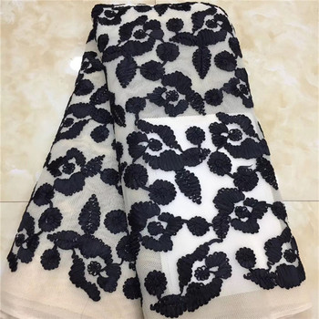 African Sequins Lace Fabrics 2020 black/white High Quality French Lace Fabric Nigerian Tulle Lace Fabrics For Wedding Dress