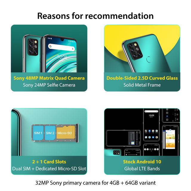 "UMIDIGI A9 Pro SmartPhone Unlocked 32/48MP Quad Camera 24MP Selfie Camera 4GB 64GB/6GB 128GB Helio P60 6.3"" FHD+ Global Version 2"