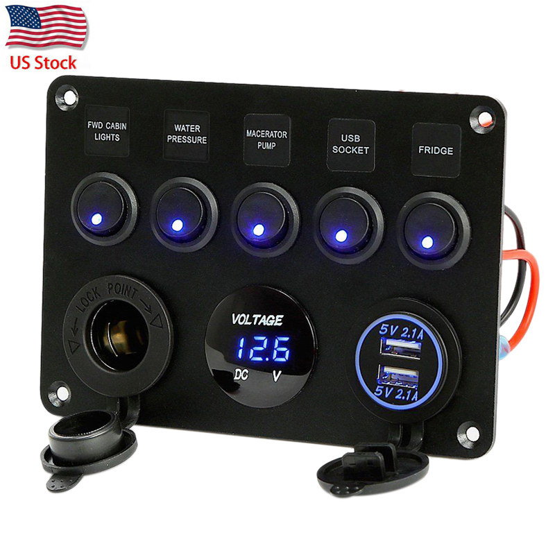 caixa de fusivel inline 5 gang azul led rocker switch painel voltimetro dupla usb carregador tomada