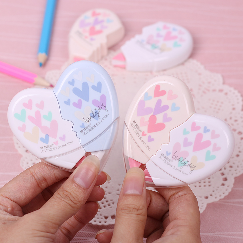 Love Heart Correction Tape Material Escolar Kawaii Stationery Office School Supplies Papelaria 10M 2 PCS/Pair
