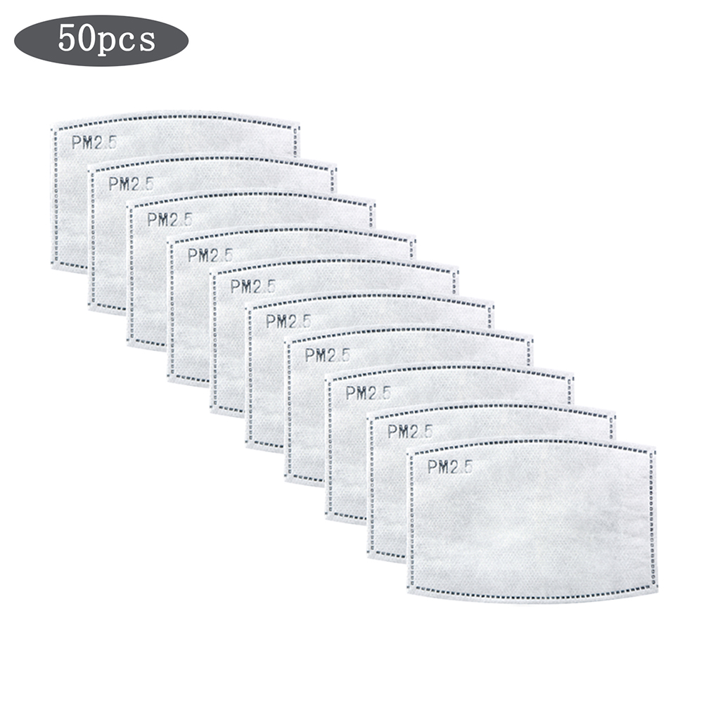 50Pcs 5 Layer Mask Replacement Filter Activated Carbon Filter For Mount Mask Anti-dust PM2.5 Filter For Adult Mouth-muffle
