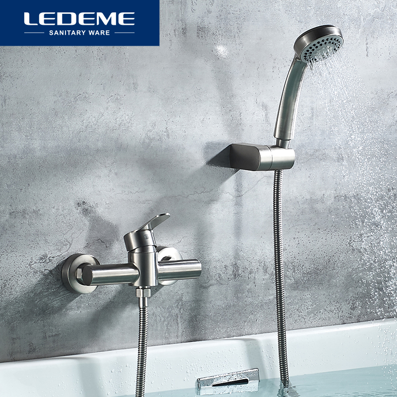 LEDEME смеситель для ванной из нержавеющей стали, смеситель для ванной комнаты, смеситель для ванной комнаты, смеситель для ванны, смеситель для ванны, смеситель для душа L72003|Смесители для ванны|   | АлиЭкспресс