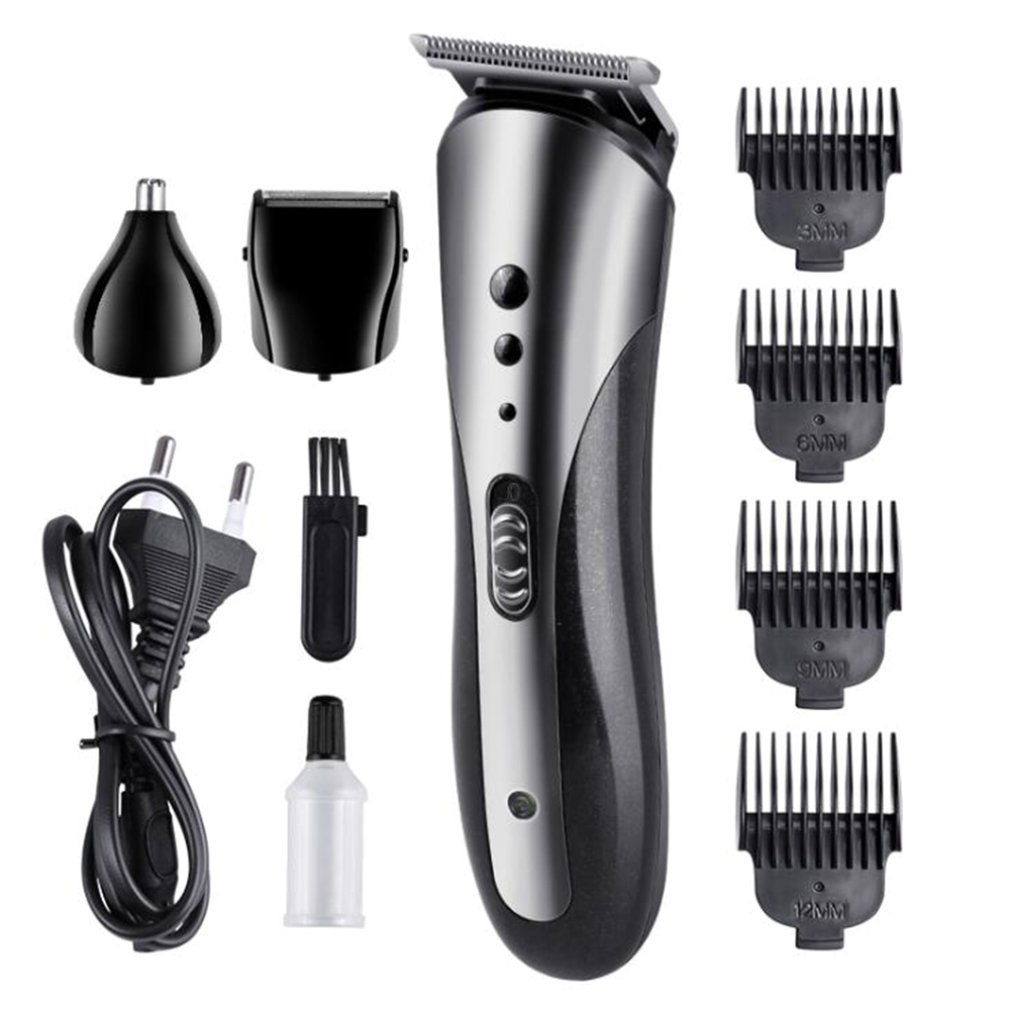 Professional 6 In 1 Multi Functional Hair Clipper Hair Trimmer Electric Beard Trimmer Brush Rechargeable Hair Trimmer Cutter Kit
