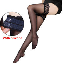 Meias femininas sexy linegerie laço quente topo fique acima da coxa meias altas meia-calça antiderrapante silicone meias sexy para ligas